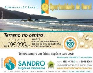 Comprar, terreno no bairro bombinhas na cidade de bombinhas-sc